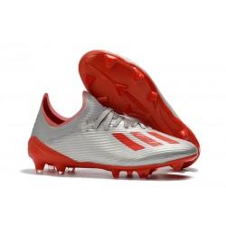 Zapatillas de fútbol adidas X 19.1 FG Plata Rojo