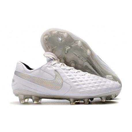 Bota de Fútbol Nike Tiempo Legend VIII Elite FG Blanco Platino Gris