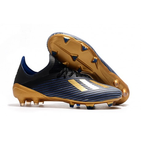 Zapatillas de fútbol adidas X 19.1 FG Negro Azul Oro