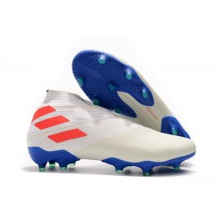 adidas Nemeziz 19+ FG - Botas de fútbol para hombre Blanco Naranja