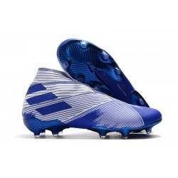 adidas Nemeziz 19+ FG - Botas de fútbol para hombre Blanco Azul