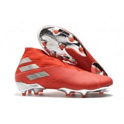 adidas Nemeziz 19+ FG - Botas de fútbol para hombre Rojo Plata