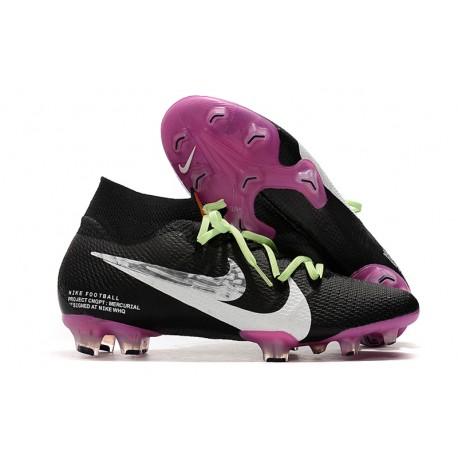 Nike Botas de Fútbol Mercurial Superfly 7 Elite FG Negro Violeta Blanco