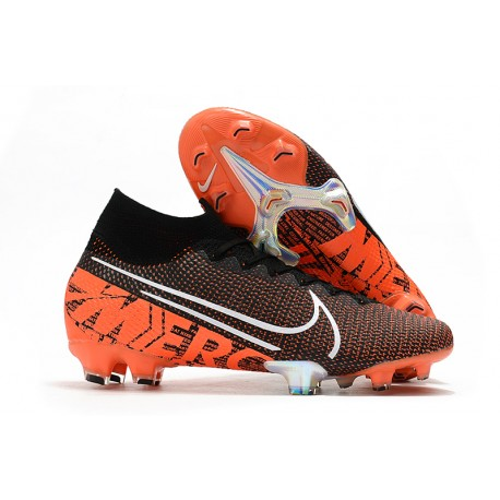 Nike Botas de Fútbol Mercurial Superfly 7 Elite FG Negro Blanco Hyper Crimson