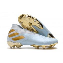 Zapatos de Fútbol adidas Nemeziz 19+ FG Agua/Dorado metalizado /Blanco