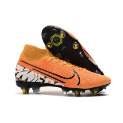 Nike Mercurial Superfly 7 Elite SG-Pro Anti-Clog Naranja Blanco Negro