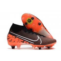 Nike Mercurial Superfly 7 Elite SG-Pro Anti-Clog Negro Blanco Hyper Crimson