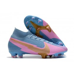 Nike Botas Mercurial Superfly 7 Elite FG Azul Rosa Oro