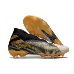 Zapatos de Fútbol adidas Nemeziz 19+ FG Blanco Dorado Metalizado Negro