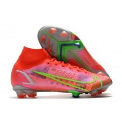 Zapatos de Fútbol Nike Mercurial Superfly 8 Elite FG Carmesi Plateado Metalizado