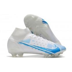 Zapatos de Fútbol Nike Mercurial Superfly 8 Elite FG Blanco Azul