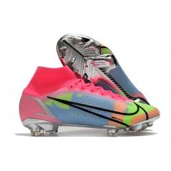Zapatos de Fútbol Nike Mercurial Superfly 8 Elite FG Rosa Azul Verde