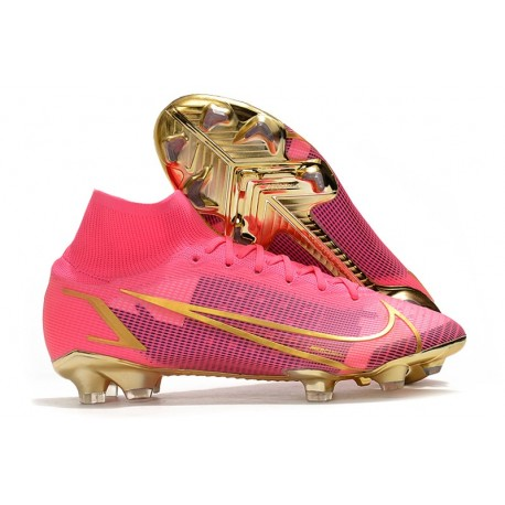 Zapatos de Fútbol Nike Mercurial Superfly 8 Elite FG Rojo Negro Oro