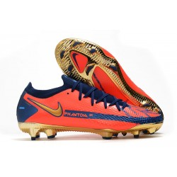 Botas de Fútbol Nike Phantom GT Elite FG Naranja Oro Azul